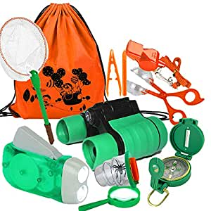 TOPTOY Outdoor Toys for Children Age 3-12, Exploration Kit Fun Activity Kids Set for Camping Hunting Birthday Gifts for Boys Age 3-12 Girls Toys Age 3-12 TTUKMX1