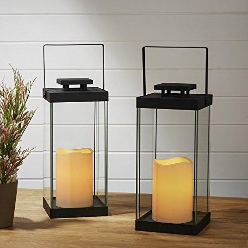 Großes Glas flammenlose Kerze Laternen, 36,8cm Höhe, warmweiß LEDs, schwarz Metall Finish, für Innen-/Außenbereich, Fernbedienung und Batterien im Lieferumfang enthalten-Set von 2 -