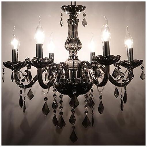 Sailun Lampadario a sospensione di cristallo classico, in ottone, nero, 5/6/810 + 5 Fiamme E14 10+5 Lichter