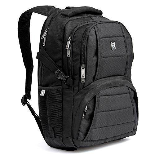 Laptop Rucksack | Evecase Pluto Wasserabweisend Daypack mit Laptopfach 17.3 Zoll/ Akteneinteilung / Tabletfach/ Viele Zubehörfächer - Schwarz