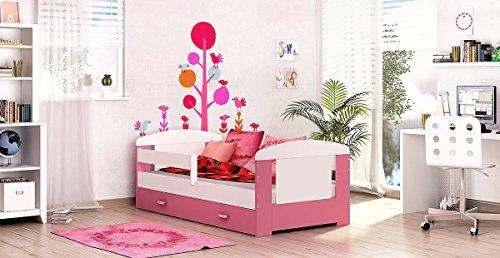 *Kinderbett Spielbett Jugendbett Bett 80×160 + Matratze + Lattenrost + Schublade (Pink)*