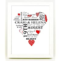 A Personalised 10 x 8 inch Wedding/Anniversary/Engagement Print Keepsake Gift - PRINT ONLY (Red Hearts)
