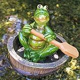 Rostalgie Krokodil Kurti mit Paddel im Bottich Gartenteich Schwimmfigur Geschenk Weiher