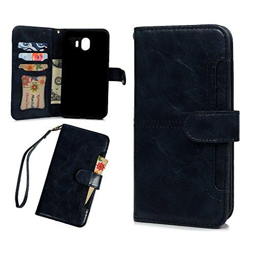 Tophung Samsung Galaxy J42018Case 2in 1, Retro Sleek PU Leder Notebook Wallet Case mit Ständer Funktion Kartenhalter und ID Slot Slim Flip Haut Schutzhülle für Samsung Galaxy J4 (Notebook Samsung Handy-abdeckungen 2)
