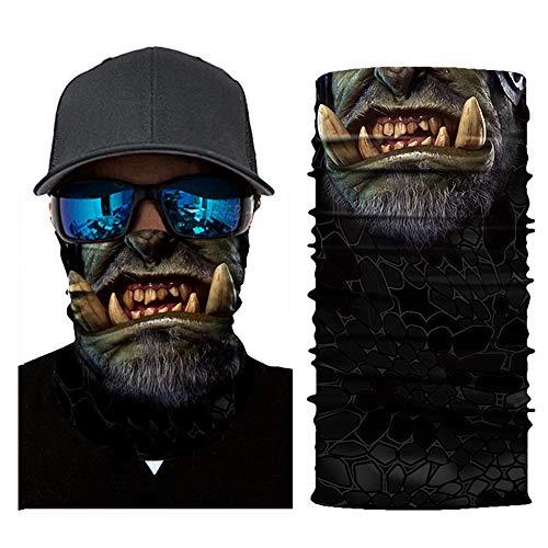 Atuka Multifunktionstuch 3D Sturmmaske Bandana Schlauchtuch Halstuch mit Totenkopf- Skelettmasken für Motorrad Fahrrad Ski Paintball Gamer Karneval Kostüm Face Maske (1#)