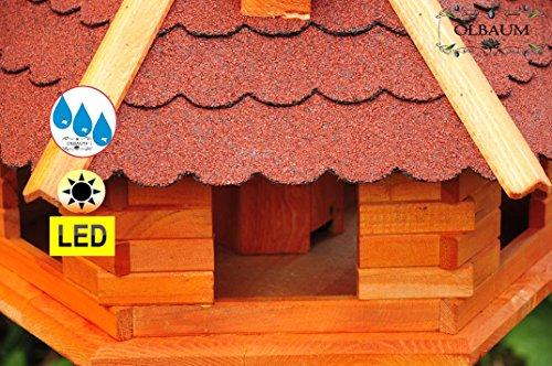 Vogelhaus XXL Premium, ca. 70-75 cm, wetterfest Massivdach, mit Silo,Futtersilo für Winterfütterung,mit Beleuchtung LED-Licht -Holz Nistkästen & Vogelhäuser- aus Holz mit Silo Holz rot ohne Ständer rot BGXL75roOS - 4