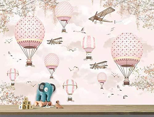 Muralayf Foto De Papel Tapiz Mural Personalidad Rosa Dibujos Animados Globo Aerostático Niños Decoración De Pared Papel Tapiz 3D-200Cmx140Cm