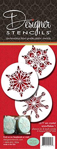 Designer Schablonen C277Kristall Schneeflocken Cookie Schablonen, klein, beige/halbtransparent -