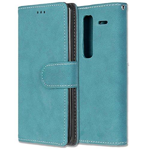 LG Zero / Class / H740 Hülle, Chreey Matt Leder Tasche Retro Handyhülle Magnet Flip Case mit Kartenfach Geldbörse Schutzhülle Etui [Blau] (Geldbörse Die Türkei)