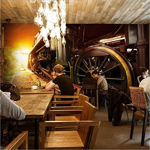Zybnb foto wallpaper 3d industrial retro vecchio treno stile murale soggiorno divano tv sfondo tè casa camera da letto caffè casa carta da parati