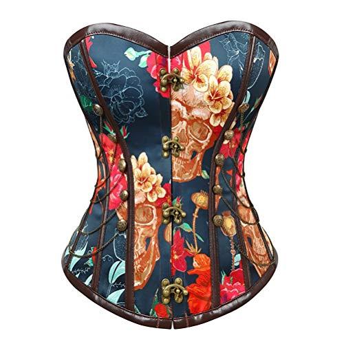 Damen Steampunk Unterbrustkorsett Taille Cincher Gothic Bustier Sexy Korsett 12 Knochen, blaues ()