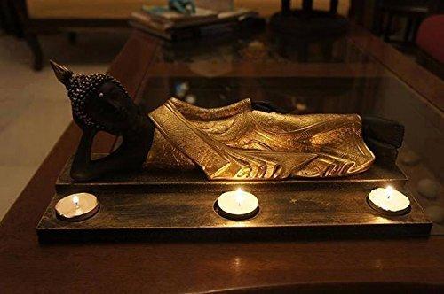 craftvatika liegender Buddha Golden Idol Figur mit Teelichter | Buddhismus handgefertigt Kunstharz Statue | Home Decor Geschenk Skulptur