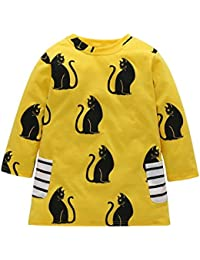 POLP Niña Vestido ◕‿◕ Vestido Mangas Larga con Estampado Otoño de para//Niña Vestido para Manga Larga//Multifuncional Corto…