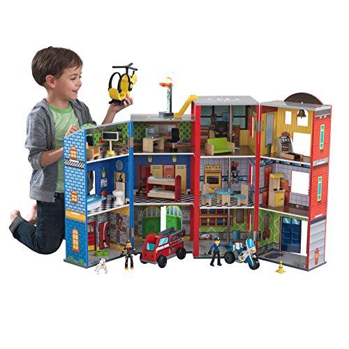 feuerwehrauto KidKraft 63239 Everyday Heroes Spielset aus Holz für Kinder mit Zubehör inklusiv Feuerwehrauto, Polizeiauto, Helikopter und Actionfiguren