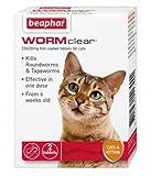 Beaphar WORMclear Cat Kitten Wormer for Roundworm Tapeworm Vet Strength Tablets