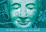 Erhältlich im 1er 4er 8er Set: Klappgrusskarte/Grußkarte/Gutschein/Glückwunschkarte/Valentinstag/Liebe/Glückskarte in Türkis mit meditierenden Buddha (Siddhartha) zur Genesung/Geburtstag/Wellness mit positivem Spruch: