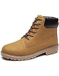 Herren Martin Stiefel Winter Warm Komfort PU-Leder Schuhe Kurzschaft Stiefel & Stiefeletten Gelb 39