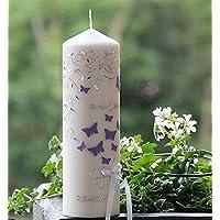 Individuelle Hochzeitskerze mit Schmetterlinge - Name und Datum inclusive-