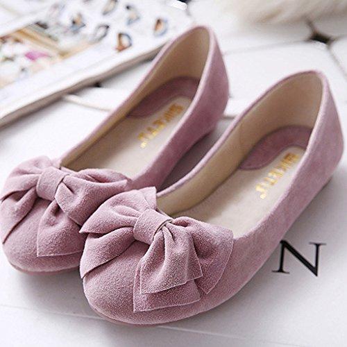 Minetom Damen Süßen Stil Schuhe Runde Zehe Erbsen Schuhe Solide Farbe Weiche Sohle Ballett Flache Schuhe Rosa