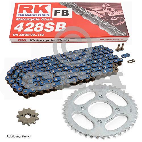 Kettensatz geeignet für Yamaha TY 125 1980 Kette RK FB428 SB 120 offen BLAU 13/52