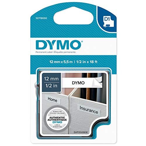 Dymo S0718060 D1-Polyesterband (hochleistungsstarkes, beständiges und selbstklebendes, 1,27 cm) 5,5-Meter-Kassette schwarz auf weiß