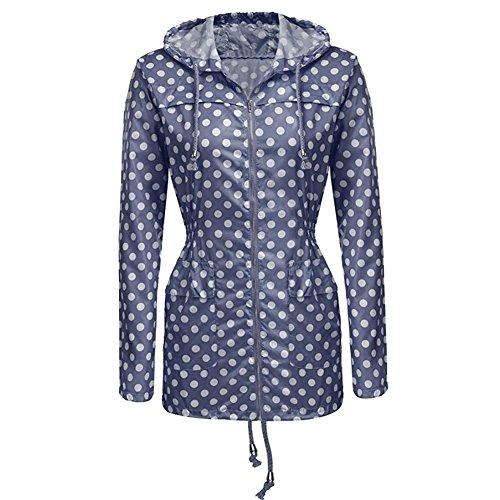 iBaste Veste de Pluie Femmes Coupe-vent Imperméable Zippé Manteau à Capuche Bleu