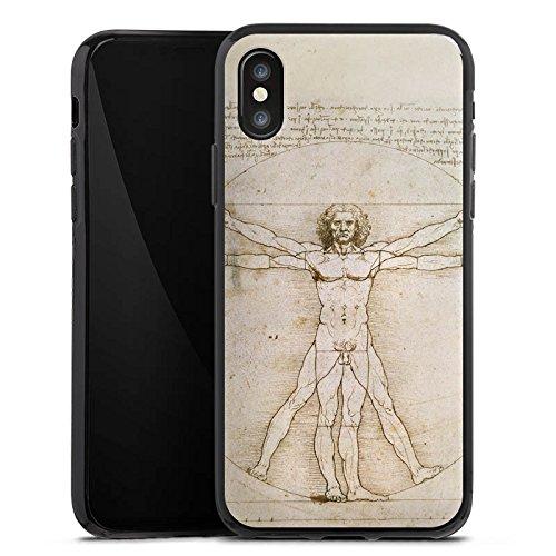 Apple iPhone X Silikon Hülle Case Schutzhülle Leonardo da Vinci The Proportions of Man Kunst Silikon Case schwarz