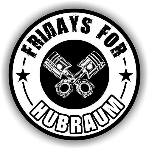 Finest Folia 2X Fridays for Hubraum Aufkleber 8,5x8,5 cm Fun Sticker für Auto Motorrad Klima (Weiß, Innenklebend)