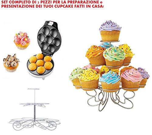 Set completo per fare i cupcake in casa - macchina elettrica sforna cupcake dolci muffin waffle fino a 7 posti 700w + stand porta cupcake in metallo per presentazioni