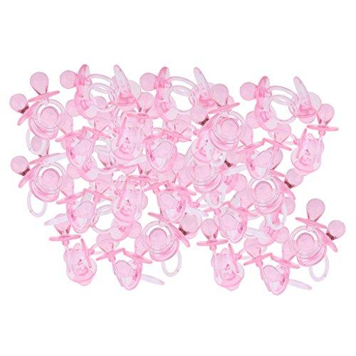 Foto de Dolity 144 Pedazos Confeti Dispersa Chupónes de Mesa para Baby Shower Bautiso Anuncio de Bebé - Rosa