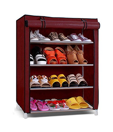 Inditradition Multipurpose 4 Tier Collapsible Wardrobe (for Cloths, Shoes, Books, Toys) | Red Color, 60x30x75 cm