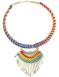 Johareez Gold Plated Multicolour Thread Choker Necklace For Women