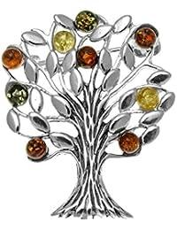Mezcla de ámbar y plata de ley de árbol de la vida broche