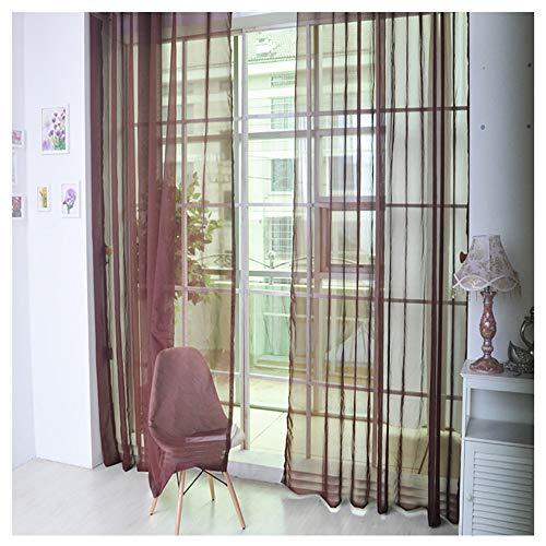 Vorhang Gardinen Reine Farbe Tüll Türfenstervorhang Drapieren Panel Schiere Schal Volants Dekorative und Lichtdurchlässigkeit Schutz der Privatsphäre für Zimmer (G 2.7X1M) -