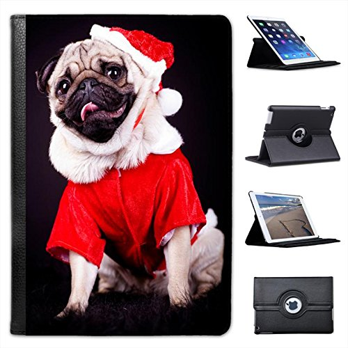 Cani - Carlino Custodia a Libro in finta pelle con funzione di supporto per i modelli Apple iPad nero Pug Dressed As Santa Christmas iPad Mini / Retina