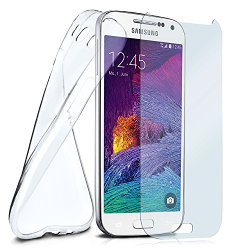 moex Silikon-Hülle für Samsung Galaxy S4 Mini | + Panzerglas Set [360 Grad] Glas Schutz-Folie mit Back-Cover Transparent Handy-Hülle Samsung Galaxy S4 Mini Case Slim Schutzhülle Panzerfolie