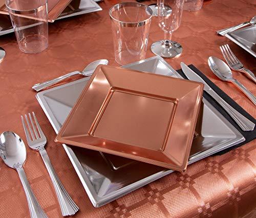 Party-Einweg-Geschirr-Set Kunststoff-Rosa Silber-und Gold - Sammlung von Platten, Servietten, Besteck, Tassen und Gläsern - 12 Personen - Special Collection