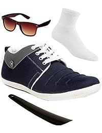 4-in-1 Shoe Island ® POPULAR Studd-X ™ Denim Navy Blue Casual Sneakers COMBO For Men