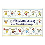 12 Einladungskarten Einschulung mit Umschlag/Gezeichnete Kinder auf Karopapier/Einladung 1. Schultag in der Schule/2-seitige Karte