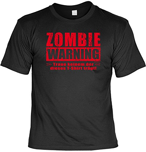 Halloween Grusel T-Shirt - Zombie Warning! Halloween (Herren Schnell Kostüme Halloween)