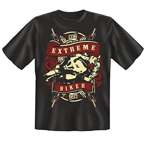 Biker Funshirt, T-shirt mit Minishirt - Geschenk für Motorrad Fans - Farbe: Schwarz - Motiv: Extrem Bikers Schwarz