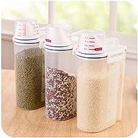 Dealglad® Contenitore dispenser portatile da 2kg in plastica alimentare per farina, cereali, legumi, riso, contenitore sigillato con misurino