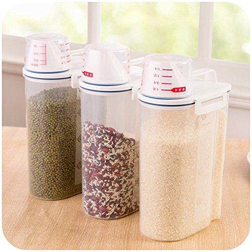 Dealglad® 2kg portátil de plástico Alimentos grano harina de cereales dispensador de caja de almacenaje de arroz contenedor tanque de sellado con taza de medir