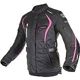 Oxford Dakota Damen lang wasserdichte Motorradjacke - schwarz/pink - Rosa, 10