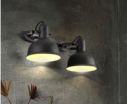Einstellbare/Flexible Retro Spot Light/Swing Restaurants Loft Schmiedeeisen Vintage Industrial Air Wandleuchten kreative Flurlampe Schlafzimmer Korridore antiken Wandleuchten,2 Kopf zu tun, die alte Farbe (Einzel-metall-loft-betten)