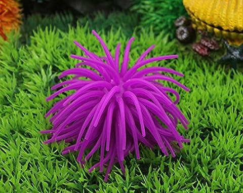 Tfxwerws Aquarium Fish Tank Décoration artificielle Corail en silicone (Violet)