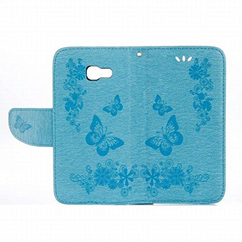 Custodia Samsung Galaxy A3 (2017) / A320F Cover Case, Ougger Fiore Farfalla Portafoglio PU Pelle Magnetico Stand Morbido Silicone Flip Bumper Protettivo Gomma Shell Borsa Custodie con Slot per Schede  Azzurro