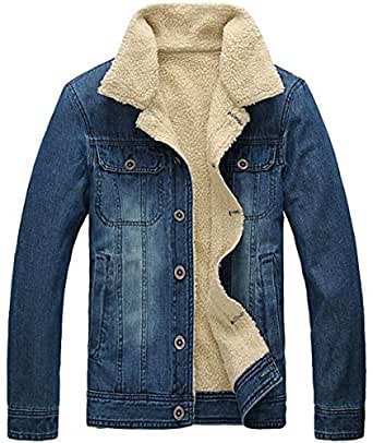 herren winter warm denim jeansjacke mit fell jacke mantel. Black Bedroom Furniture Sets. Home Design Ideas