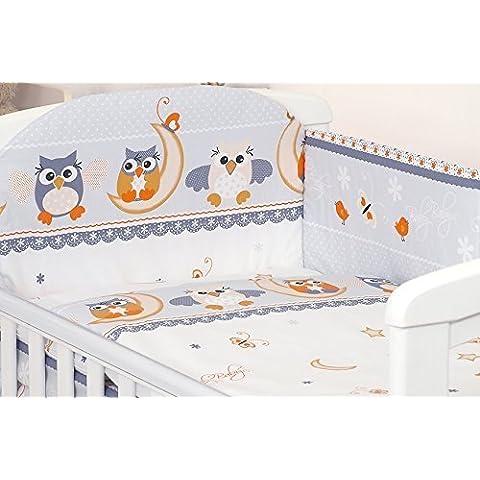 Pro Cosmo Set de ropa de cama, para cuna, 5 piezas, incluye almohada, edredón y protector de cuna, hecho 100% de algodón