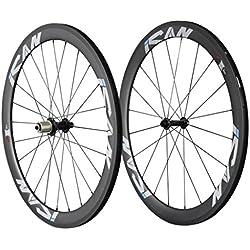ICAN 50mm de carbono carretera bicicleta Clincher ruedas basalto freno superficie 20/24agujeros Sapim CX-Ray radios
